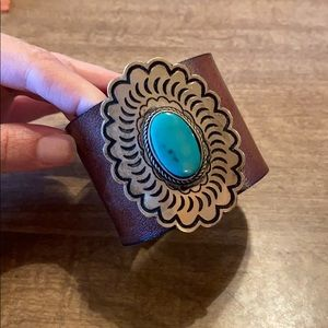 Leather cuff bracelet with turquoise charm